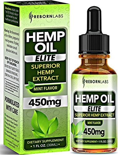 Hemp Oil Drops 450mg - for Pain Relief, Anxiety, Mood, Stress & Sleep Support - Natural Formula with Organic Hemp Seeds & Omega 3-6-9 Fatty Acids - 3rd Party Tested - Made in USA - Mint Flavor - 30mL