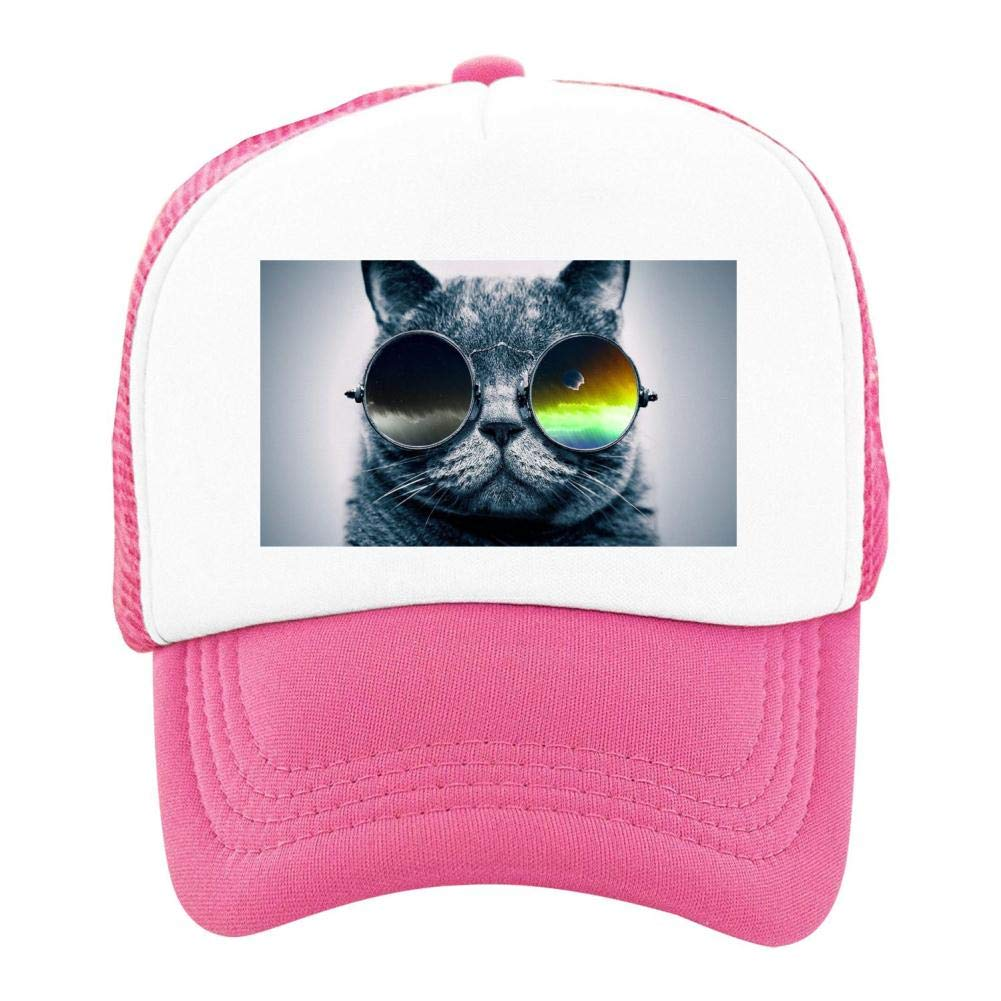 Kids Girls Boys Mesh Cap Trucker Hats Wearing Cosmic Cat Kitty Adjustable Hat Pink