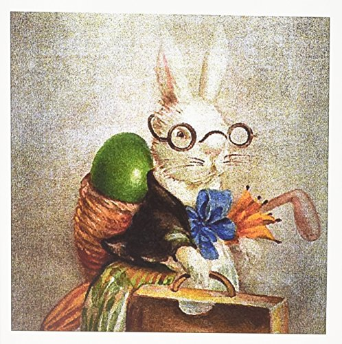 3dRose Vintage Easter Bunny in Glasses Digital Art - Greeting Cards, 6 x 6 inches, set of 12 (gc_178099_2)