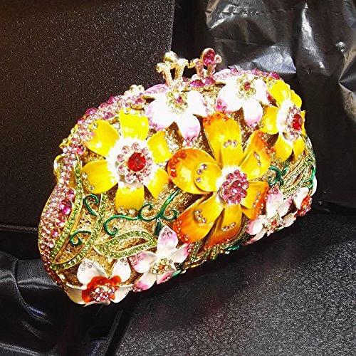 Flada niña de las mujeres de flores de diamantes de imitación bolso de la noche bage bolso de embrague para el partido de la boda nupcial PROM negro Amarillo
