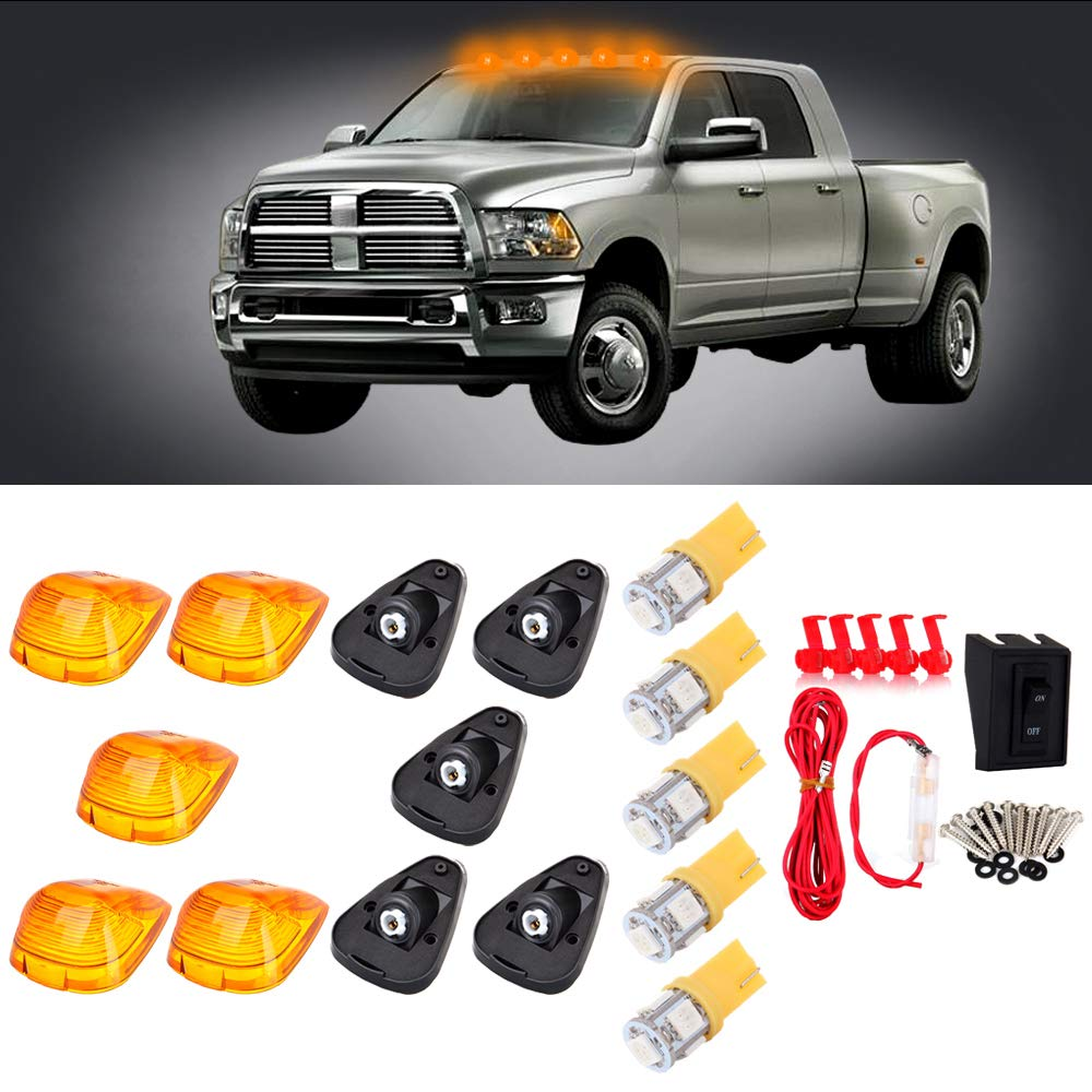 CCIYU Cab Marker Light 5X Yellow T10 5-5050-SMD Top Clearance Roof Running Bulbs+5X Amber Cab Roof Light Covers+1 Set Wiring Pack Switch Assembly Wire Harness 1999-2015 ford F250 F350 F450 817252-5210-1112051191