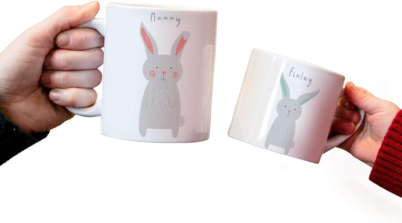 Juego de tazas personalizables para adultos y niños, de chocolate caliente, para bebé, perfecto para regalo de Nochebuena, día de la madre o el día del padre, cerámica, Bunny Rabbit Family Mug Set