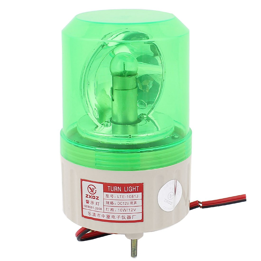 uxcell DC 12V Buzzer Sound Rotating Industrial Signal Warning Lamp Green