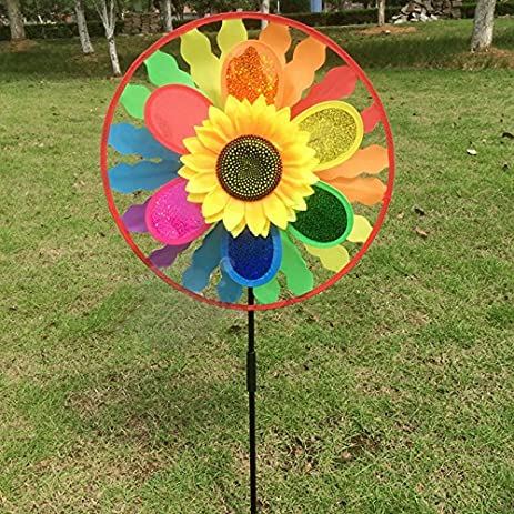 Attrayant Techinal 1Pcs Decorative Garden Windmills, Sunflower Windmill Wind Spinner  Rainbow Whirligig Wheel For Home Lawn
