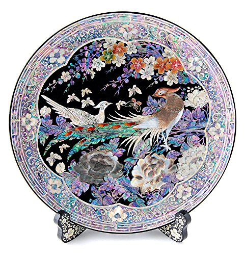 Mother of Pearl Inlay Oriental Peacock Pair Peony Flower Decorative Round Wooden Stand Wall Home Art Deco Circle Plate Dish