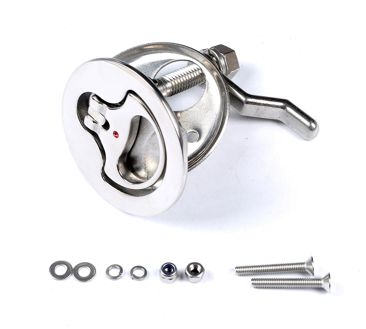 MxEol Boat Stainless Steel Cam Latch Marine Hatch Pull with Back Plate Fasteners