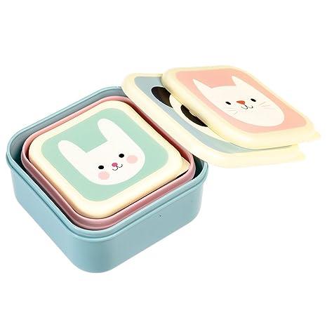 Set de 3 cajas almuerzo panda gato y conejo Rex International 27996