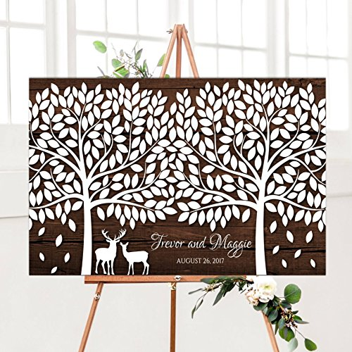 (Susie85Electra Large Wedding Guest Book Alternative Signature Tree With Deer Rustic Wedding Guestbook Large Wooden Wedding Guest Book For 300 Guests)