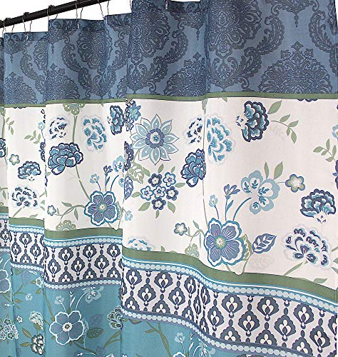 (VCNY Home Teal Aqua Blue Green White Fabric Shower Curtain: Contemporary Floral Bordered Eclectic Design, 72 by 72 Inches)
