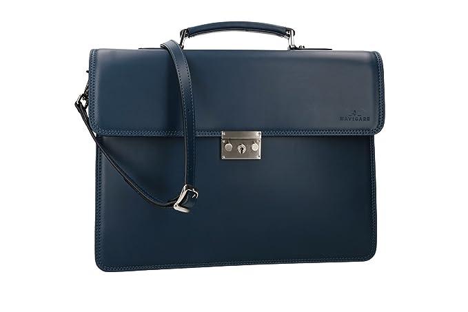 1c031c7109325 Cartella NAVIGARE borsa professionale blu in vera pelle MADE IN ITALY  VH162  Amazon.it  Abbigliamento