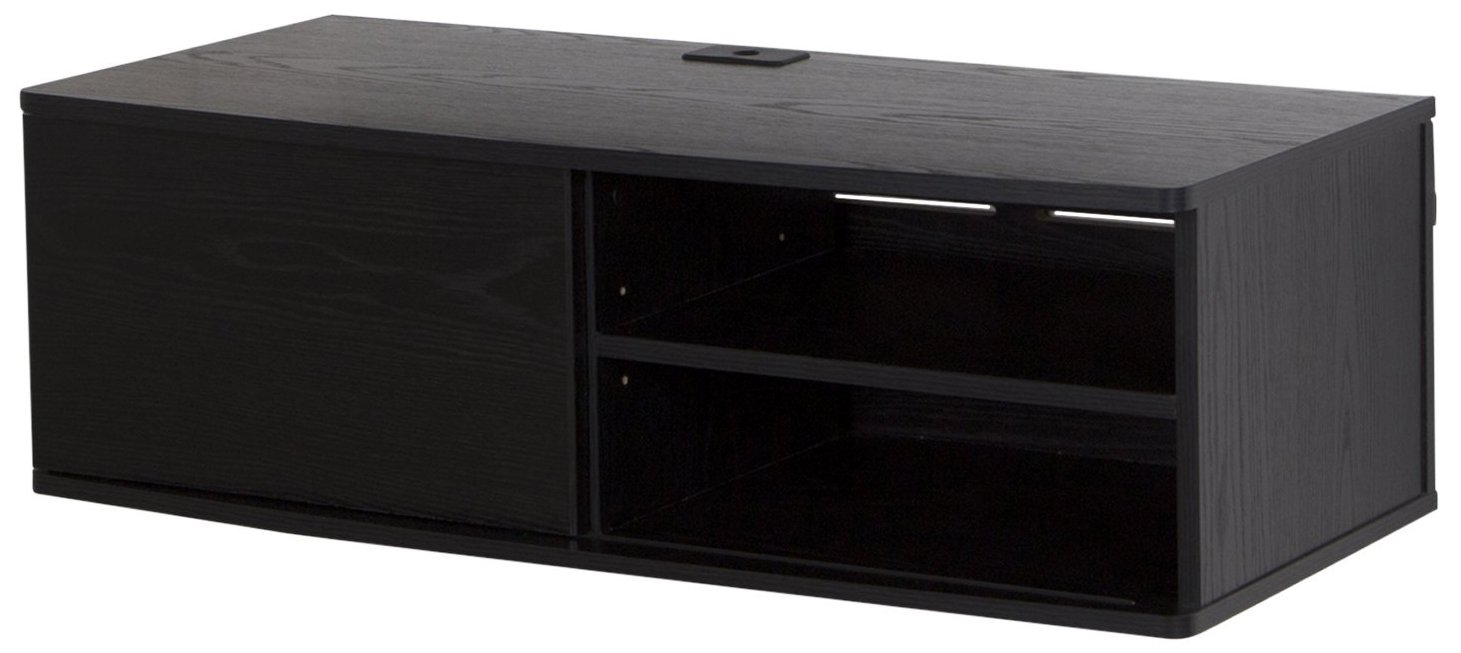 South Shore Agora Wall Mounted Media Audio/Video Console with Sliding Door, Black Oak by South Shore