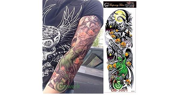 3pcs Impermeable Etiqueta engomada del Tatuaje Flor del cráneo ...