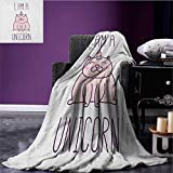 Unicorn Cat cool blanket Fantasy Animal with I am a Unicorn Quote Lovely Funny Fictive Kitten Pattern Baby Pink Purple size:59''x35.5''