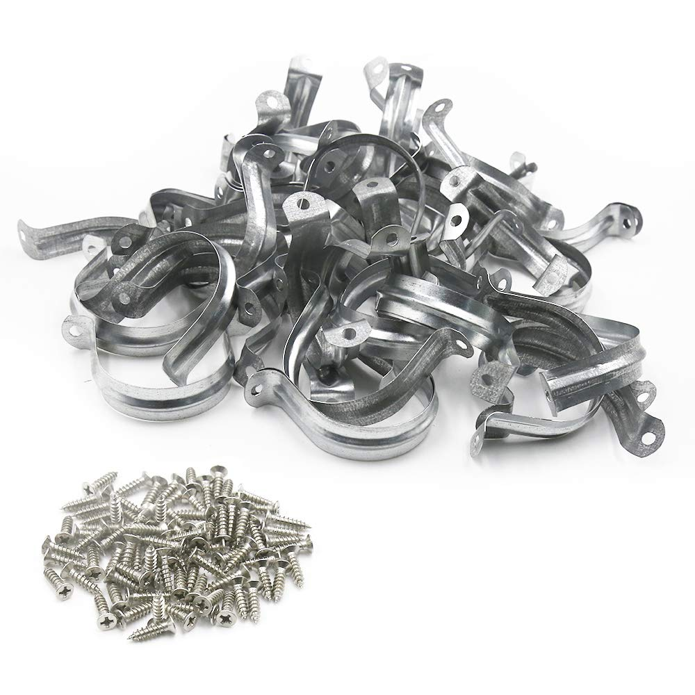 HONJIE M50 201 Stainless Steel Two Hole Pipe Straps Tension Tube Clip Clamp-50pcs