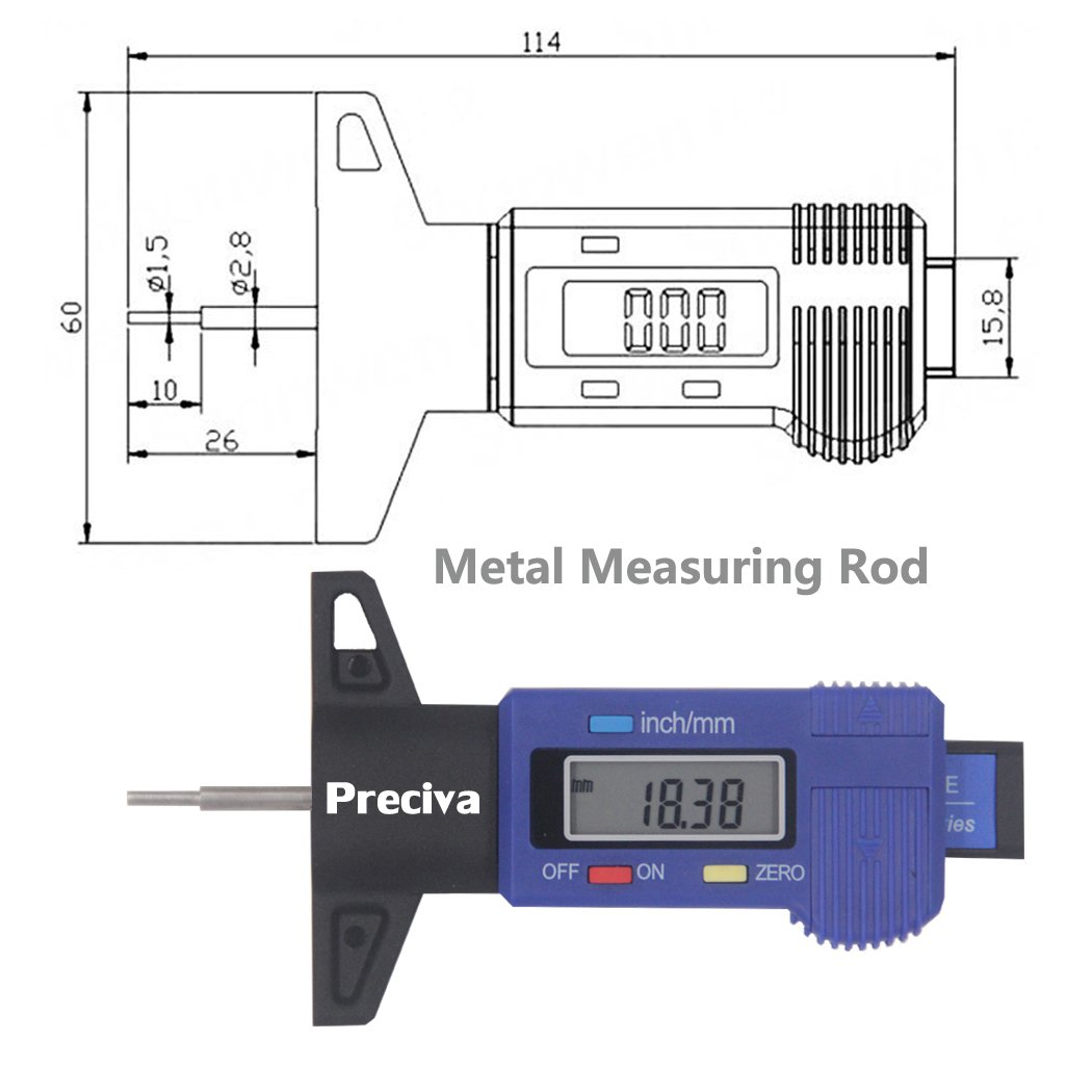 Preciva Lcd Digital Tire For Auto Motorcycle Detector Live Line Detectorindicator Circuit Schematic Depth Gauge Indicator Of The Tread Industrial Scientific