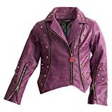 Disney Descendants Faux Leather Moto Jacket for Girls Size 11/12 Purple