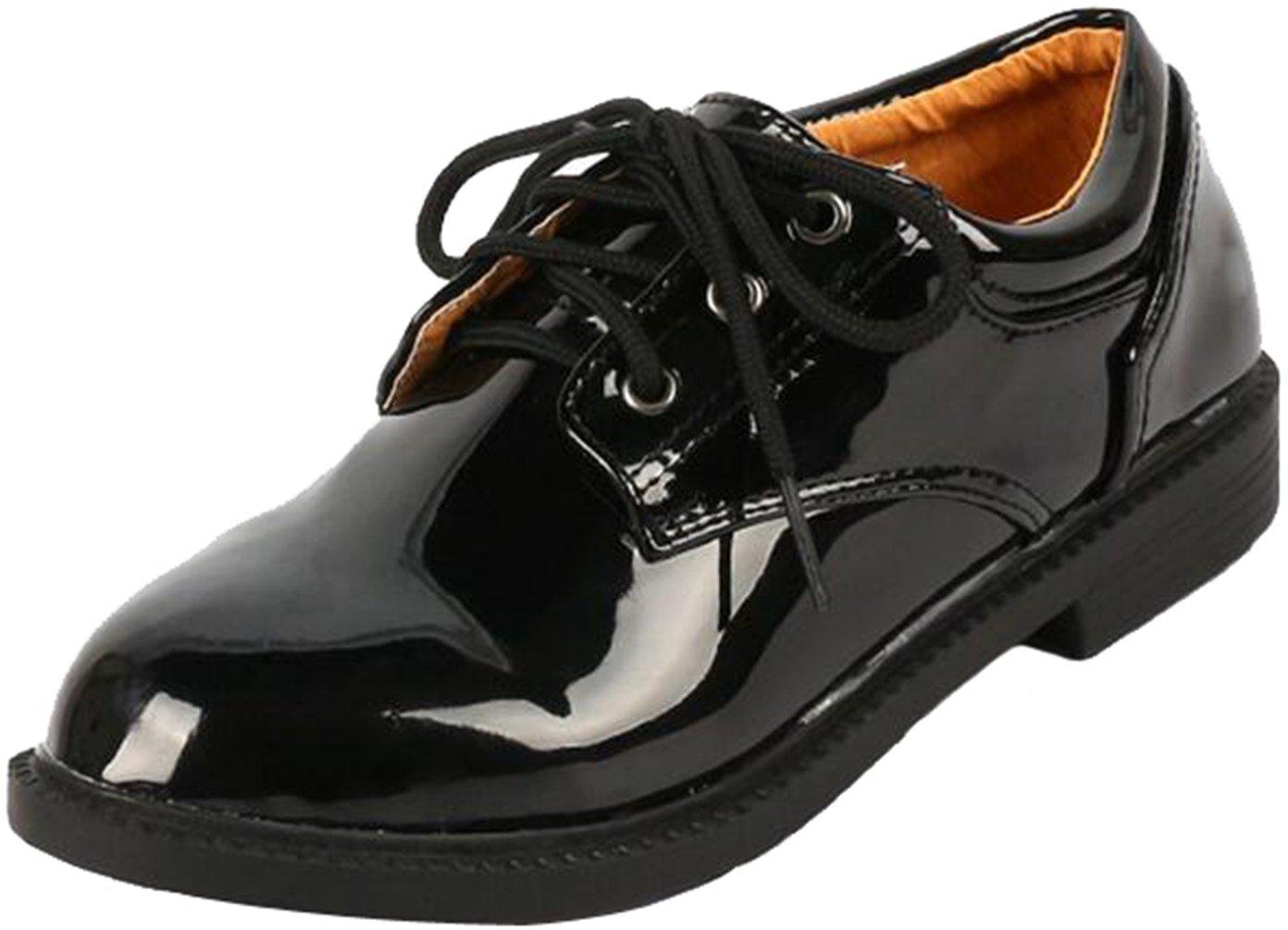 PPXID Boy's Student's British Style Performance Uniform Shoes Dress Oxford Shoes-Black 3 US Size