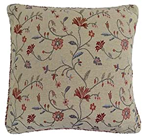 """LIZZIE DUCK EGG BLUE RED GOLD BEIGE TAPESTRY THICK FLORAL FLOWER LEAF PILLOW CUSHION COVER 45CM - 18"""""""