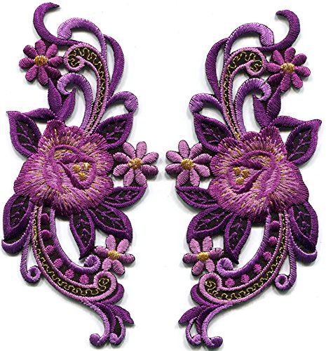 Lavender purple roses flowers pair retro 60s design embroidered applique iron-on patches S-1272