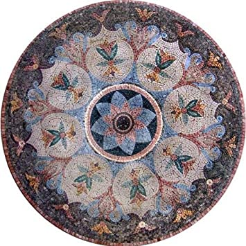 Floral Pattern Mosaic Marble Medallion Stone Art Tiles Hand Made ...