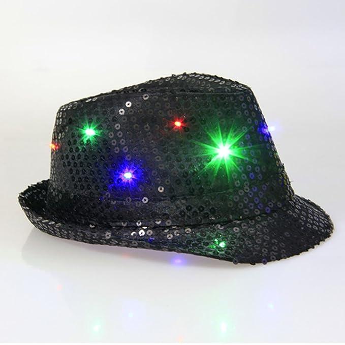 78bbf237476 VIGOLA Fedora Hat Led Fedora Hats Black and Red Fedora Hats For Flashing  Led Cap Novelties