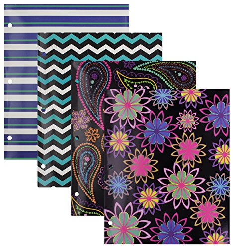 Emraw Laminated Fashion Trendsetters 2 Pocket File Portfolio Folder – Used for Papers, Loose-Leafs, Business Cards, Compact Discs, Etc. (4-Pack)