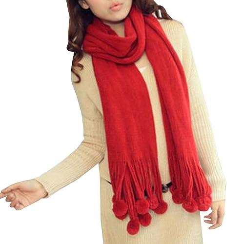 KINDOYO Bufanda larga reversible tejida a mano de las mujeres del otoño e invierno bufanda hecha punto linda chal gruesa caliente 200 * 42CMrojo
