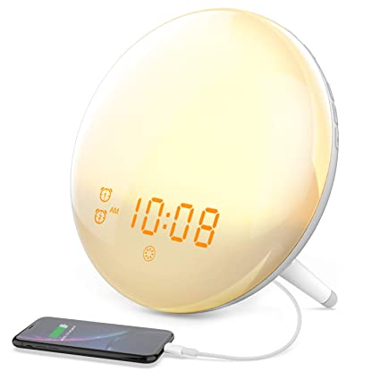 Wake Up Light Alarm Clock, Cshidworld Alarm Clock 7 Colored Sunrise Simulation & Sleep Aid Feature, Snooze Feature for Heavy Sleeper, Dual Digital ...