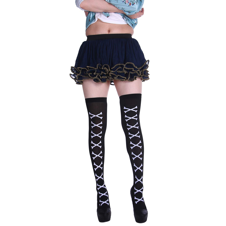 Olgaa 4 Pairs Halloween Stockings Over Knee Thigh High Printing Costume Cosplay Socks