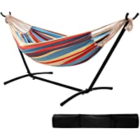 "Ohuhu 10FT Double Hammock 115""(L) x 48""(W) with Space Saving Steel Stand Includes Portable Carrying Case Up to 450lbs Capacity"