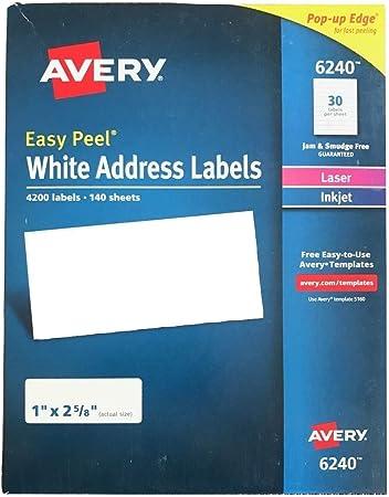 Amazon.com: Avery separa-fácil White – Etiquetas de ...