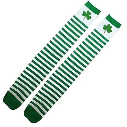 2f9b552e81d Amazon.com  LUOEM 1 Pair St Patrick s Day Socks Shamrock Children Cotton  Leggings Four Leaf Clover Socks  Toys   Games