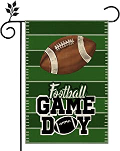 CROWNED BEAUTY Football Party Garden Flag 12X18 Inch Vertical Double Sided for Outside Farmhouse Game Day Green Décor Flag CF024-12