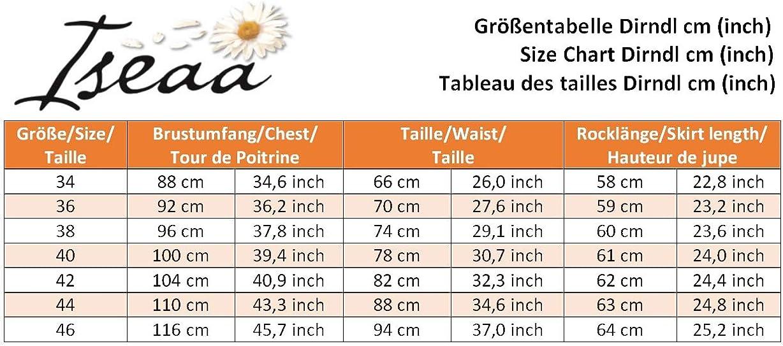 Iseaa Exklusives Dirndl 2 TLG Trachtenkleid Bertha mit floralen Akzenten und Dirndlsch/ürze in olivgr/ün