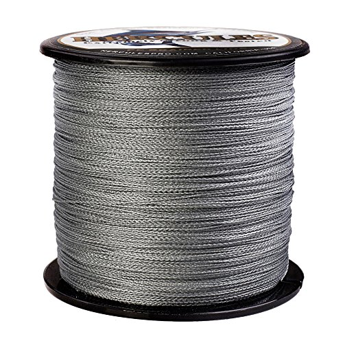 HERCULES Super Strong 500M 547 Yards Braided Fishing Line 50 LB Test for Saltwater Freshwater PE Braid Fish Lines 4 Strands - Grey, 50LB (22.7KG), 0.37MM 50 Yds Fishing Line