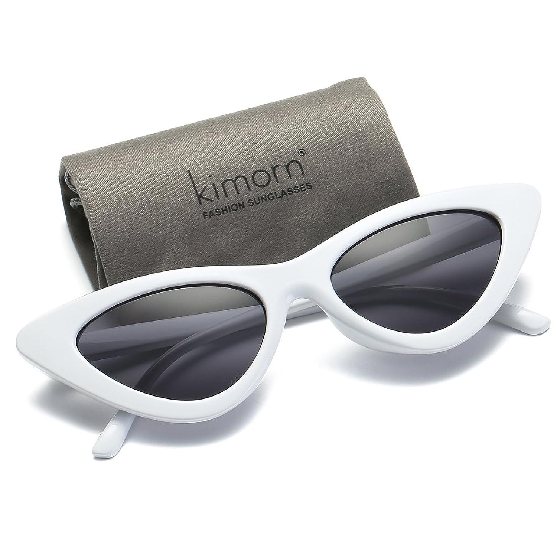 kimorn Occhi Di Gatto Occhiali Da Sole Per Donna Clout Goggles Cerniere In Metallo Bicchieri K0566 (Bianca&Nero) tPagR