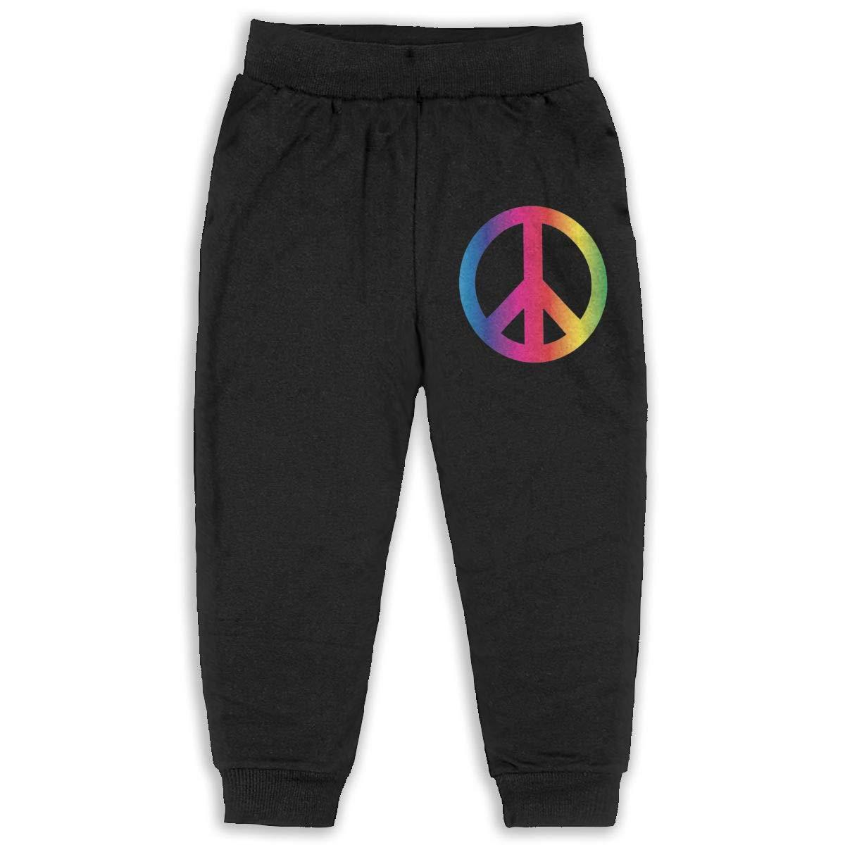 Rainbow Peace Sign Pride Kids Cotton Sweatpants,Jogger Long Jersey Sweatpants