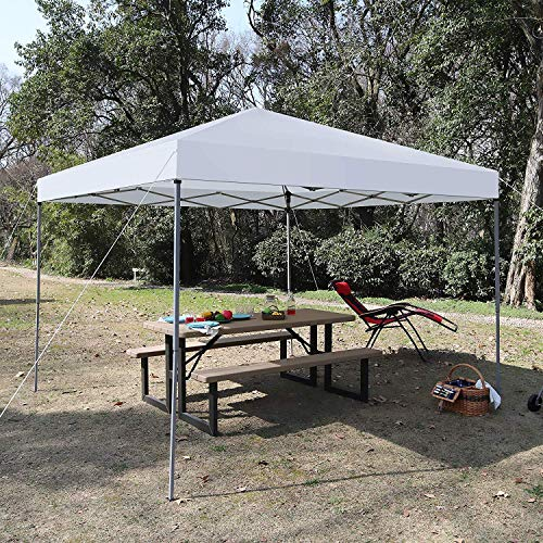 MF STUDIO 10' x 10' Instant Commercial Canopy Straight Leg Pop-up Canopy, 100 Sq. Ft of Shade, White ()