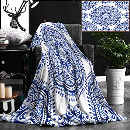 Nalagoo Unique Custom Flannel Blankets Pattern In Paisley Style Watercolor Ornamental Wallpaper Illustration Super Soft Blanketry for Bed Couch, Throw Blanket 70