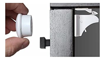 Child Baby Proof Magnetic Cupboard Catches Locks Safety 10 locks 2 Keys Set