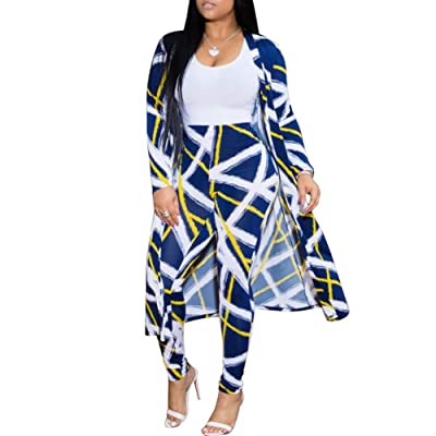 ChengQi Womens Fashion Printed Long Cardigans 2 Piece Outfits, Long Sleeve Coat and Trousers Set at Women's Clothing store