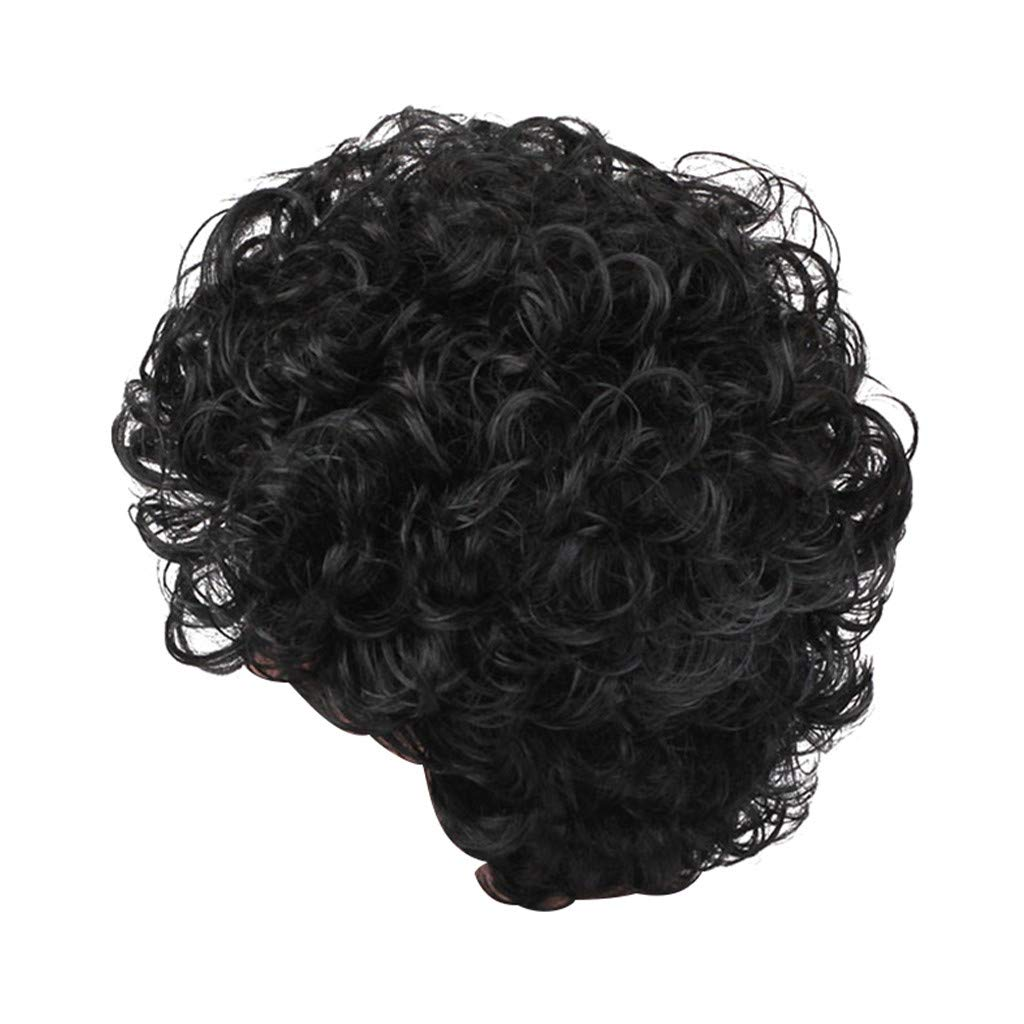 Wig,SUPPION Black Women Natural Daily Casual Short Wavy Curly Synthetic Wig Fsahion Parting Wigs Black Cosplay//Party//Costume//Carnival//Masquerade 10 inch
