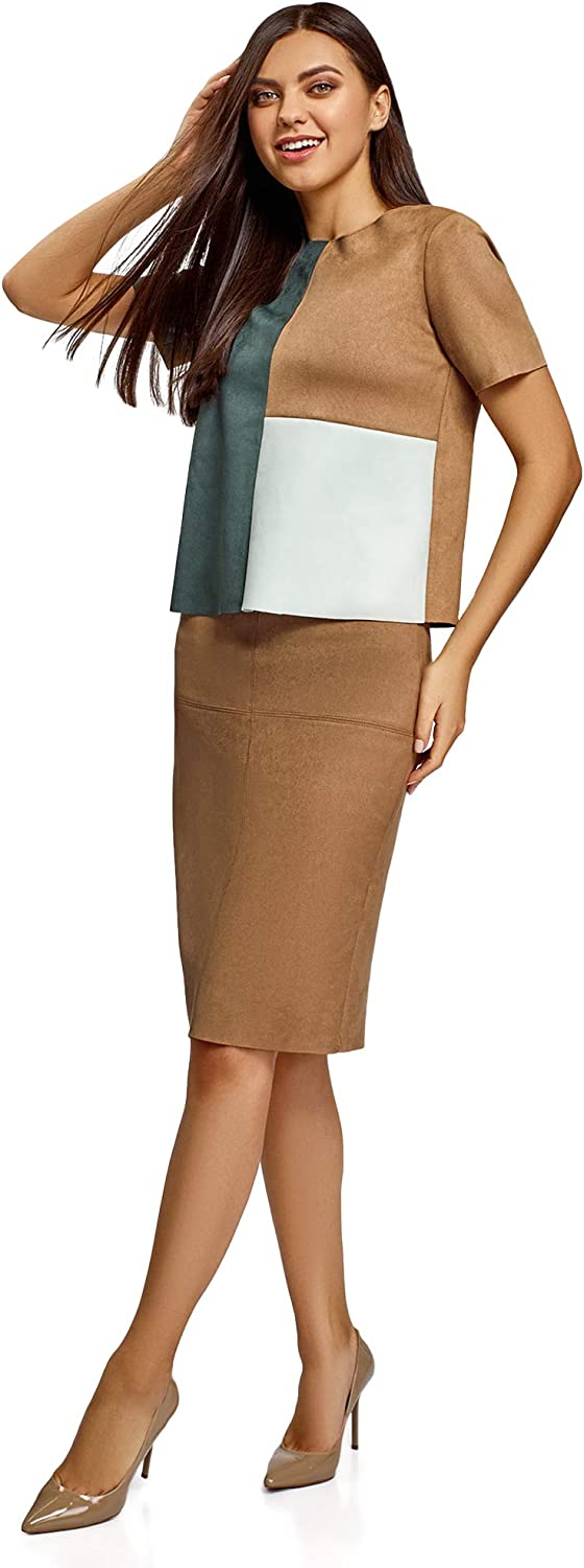oodji Ultra Womens Faux Suede Pencil Skirt with Raw Hem