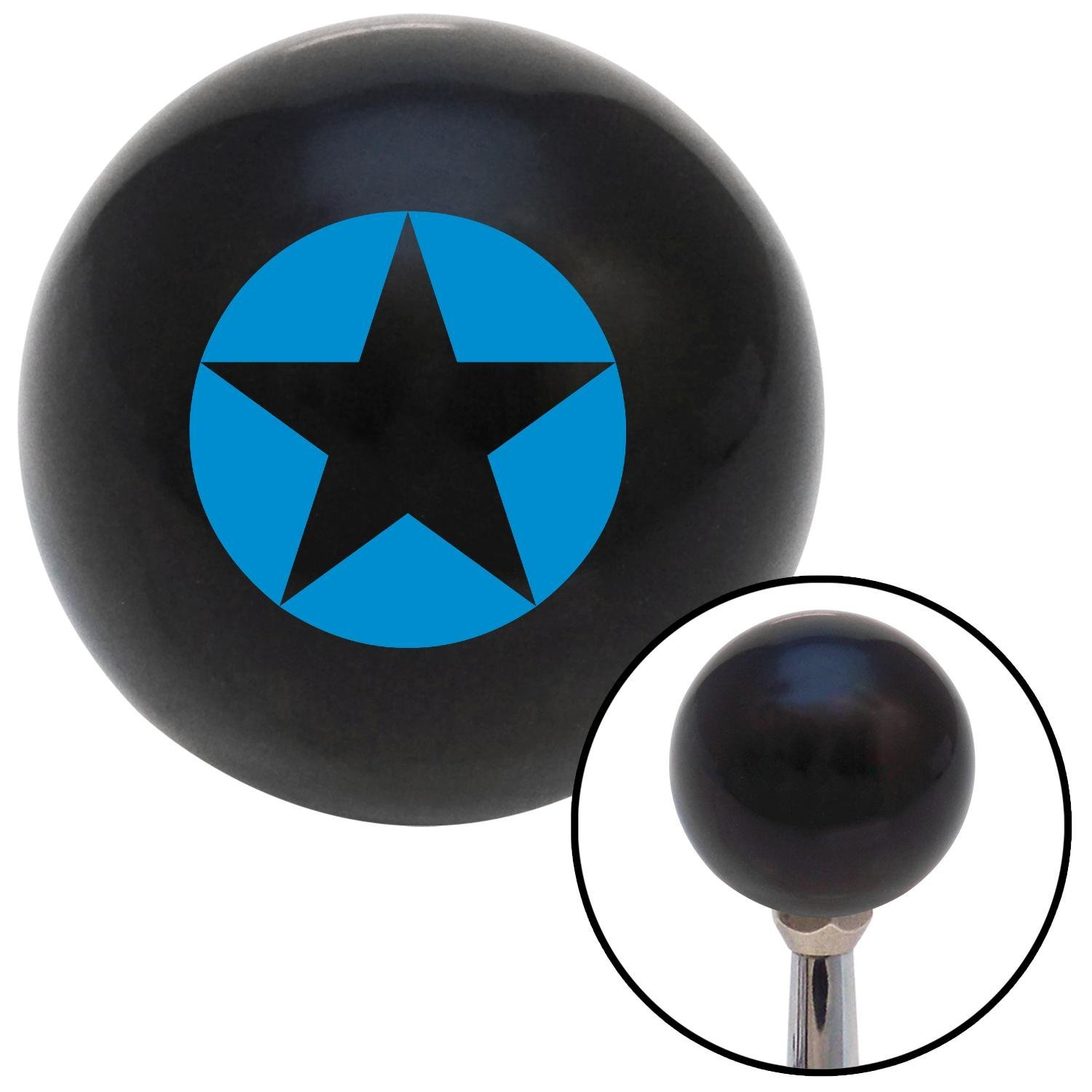 American Shifter 106952 Black Shift Knob with M16 x 1.5 Insert Blue Star in Circle