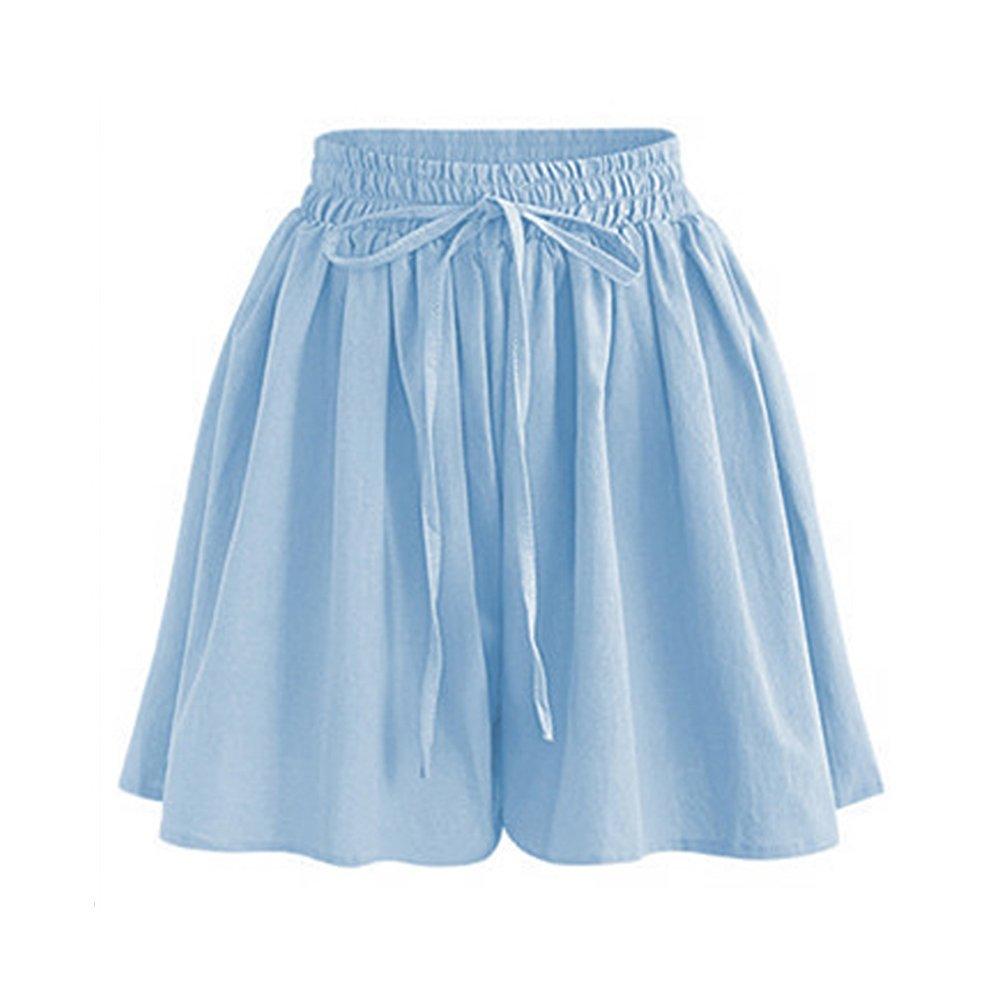 Women's Summer Decorative Drawstring Wide Leg Chiffon Shorts High Waist Culottes Shorts Light Blue Tag 3XL-US 10