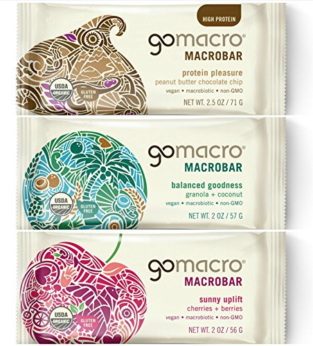 GoMacro MacroBar Organic Vegan Protein Bars, Variety Pack, 2 Ounce Bars (Pack of 12)