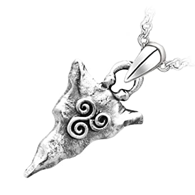 GWG Womens Necklaces Gift Pendant Necklace Precious Metal Plated Celtic Flint Decorated with Spirals from Newgrange Ancient Engravings for Women