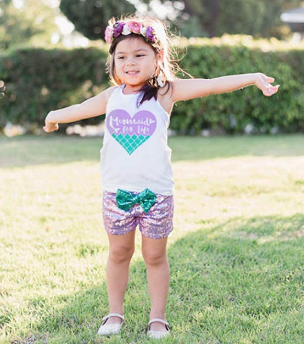 2Pcs Baby Girls Summer Mermaid Vibes Letter Printed Vest Tops Short Pant Sets