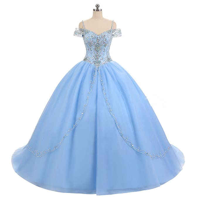 ZVOCY Women\'s Beaded Quinceanera Dress Plus Size Ball Gown ...