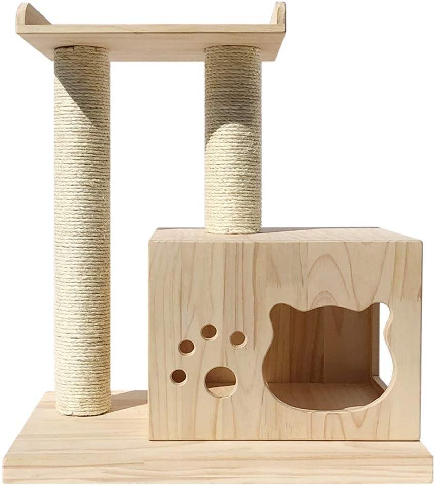耐久性のある猫ツリーマンションハウス家具付き猫スクラッチポスト家具スペースカプセルの活動クライミングエンターテイメント - 猫の隠れ家にピッタリ (色 : Natural, Size : 60x70x40cm)